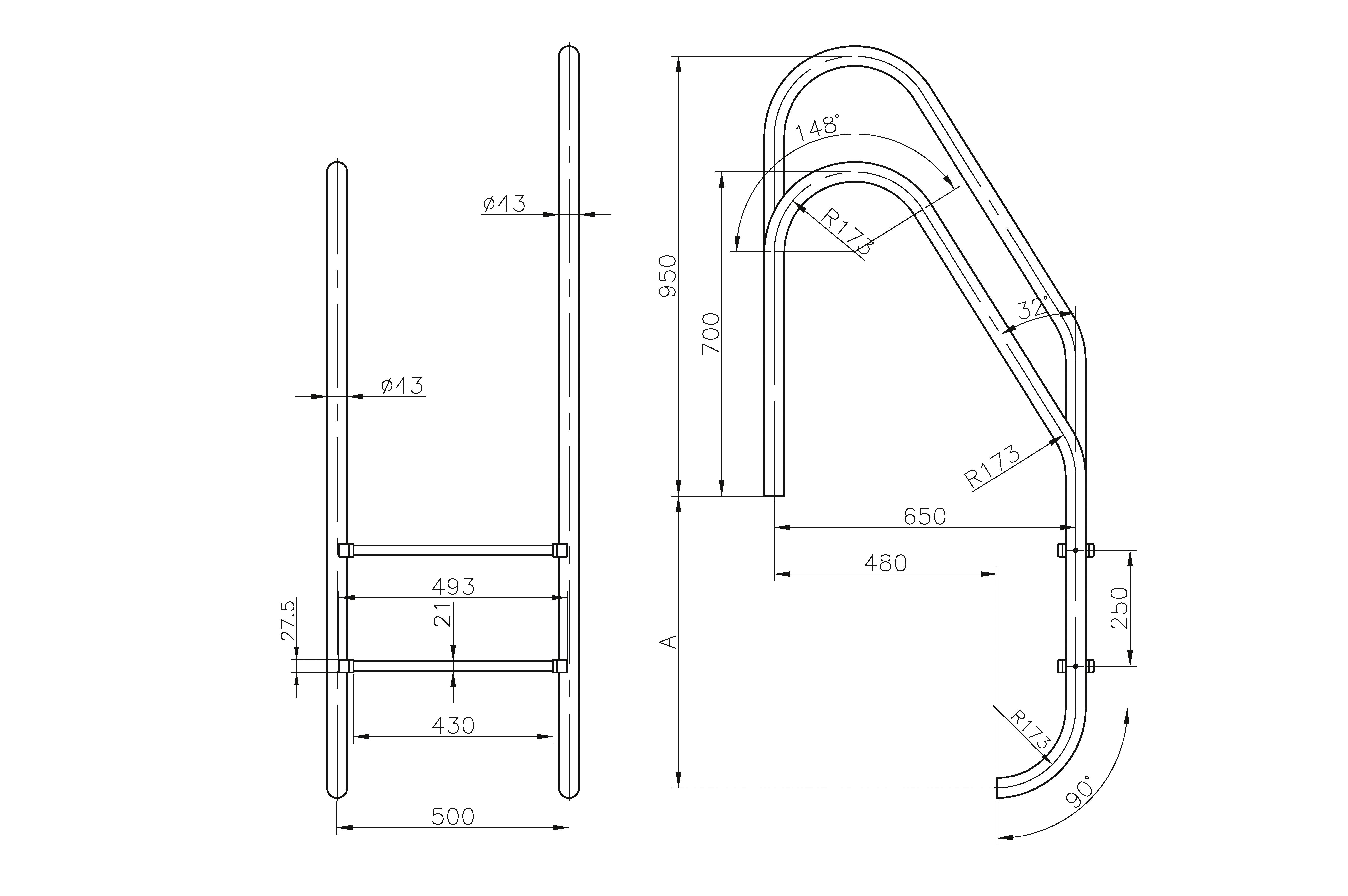 Asymmetric Standard Ladders